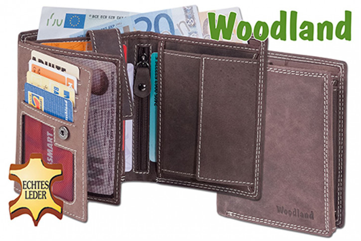 Woodland® Hochformat Riegelbörse aus weichem, naturbelassenem Büffelleder
