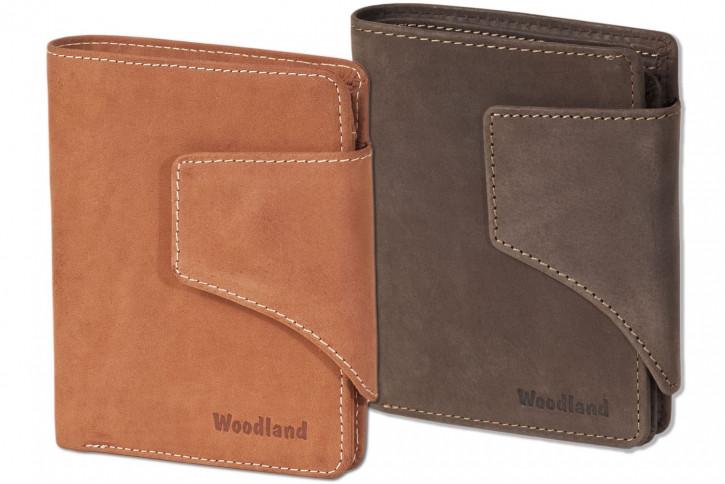 Woodland® Moderne Universal-Geldbörse mit großem Außenriegel aus weichem, naturbelassenem Büffelleder
