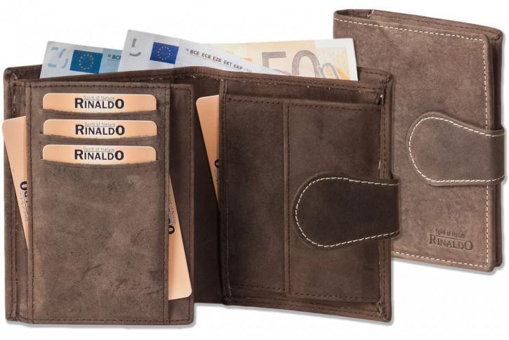 Rinaldo® Hochformatbörse aus naturbelassenem Rindsleder in Braun/Natur