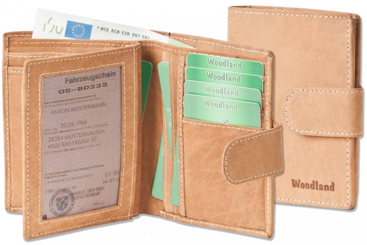 Woodland® Moderne Universal-Geldbörse mit großem Außenriegel aus weichem, naturbelassenem Büffelleder in Cognac