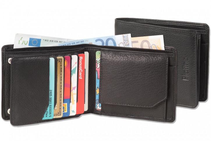 Platino - Querformatbörse mit Platz für 11 Kreditkarten aus naturbelassenem, weichem Rindsleder in First-Class Qualität
