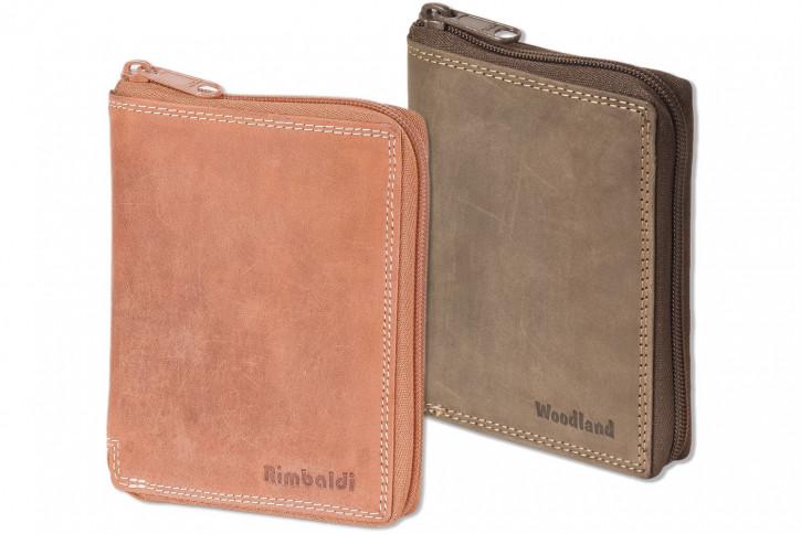 Woodland® Universalbörse mit umlaufenden Reißverschluss aus weichem, naturbelassenem Büffelleder
