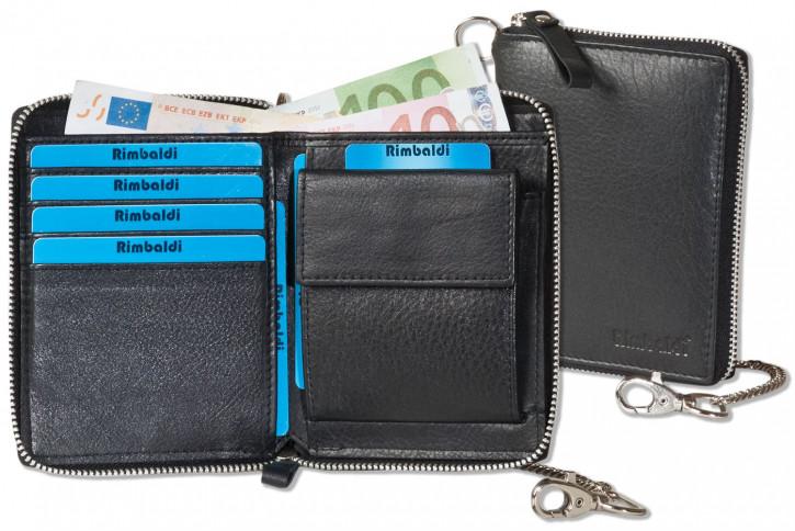 Reißverschluss-Geldbörse einschl. beiliegender Metallkette aus feinem Rind-Nappaleder in Schwarz von Rimbaldi®