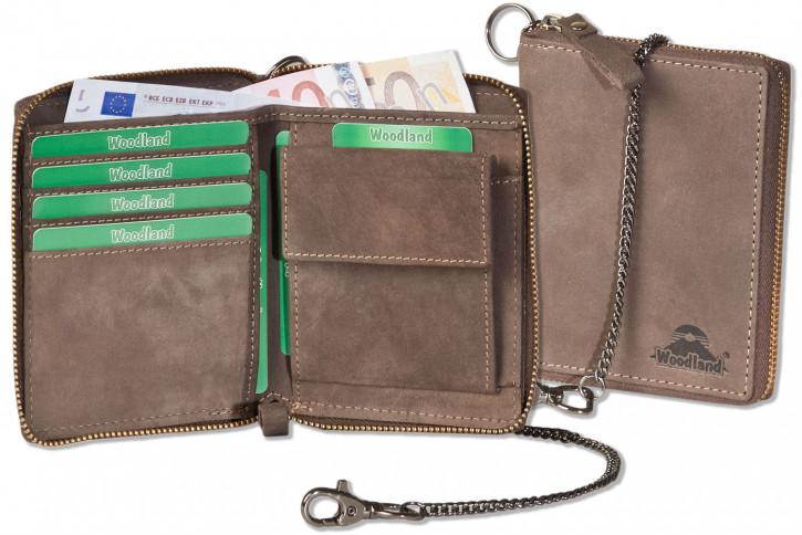 Reißverschluss-Geldbörse einschl. beiliegender Metallkette aus naturbelassenem Büffelleder in Dunkelbraun/Taupe von Woodland