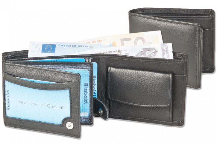 Rinaldo® Kleine Riegelgeldbörsen im Querformat aus weichem Rind-Nappaleder in Schwarz