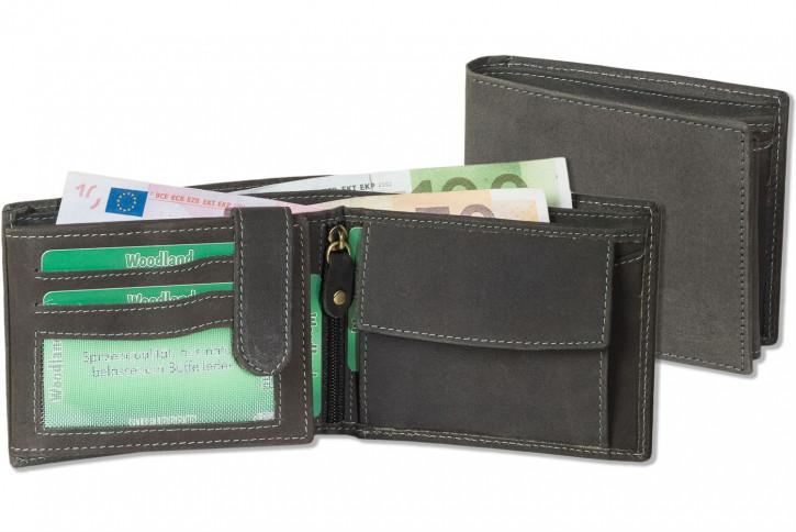 Woodland® Hochwertige Lederbörse mit dem Protecto® RFID/NFC-Blocker Schutz im Querformat aus naturbelassenem Büffelleder in Anthrazit