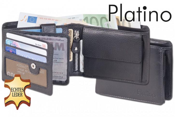 Platino - Riegelgeldbörse im Querformat aus feinstem Rindsleder in First-Class Qualität in Schwarz