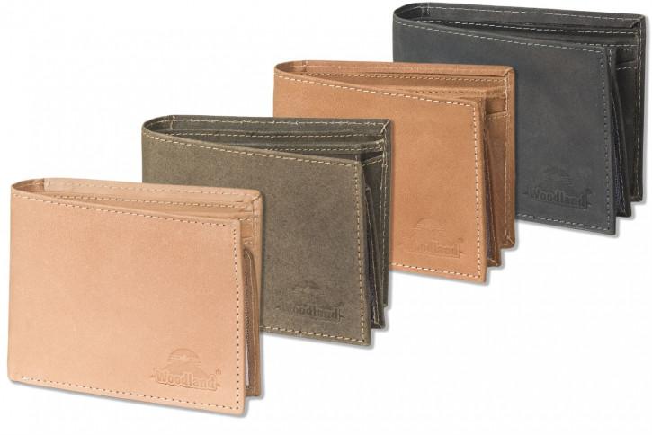 Woodland® Querformatbörse mit RFID-Blocker Schutz und vielen Kreditkartenfächer aus weichem, naturbelassenem Büffelleder