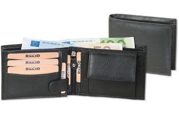 Rinaldo® Querformat Riegelbörse mit dem Protecto® RFID/NFC-Blocker Schutz aus weichem Rind-Nappaleder in Schwarz