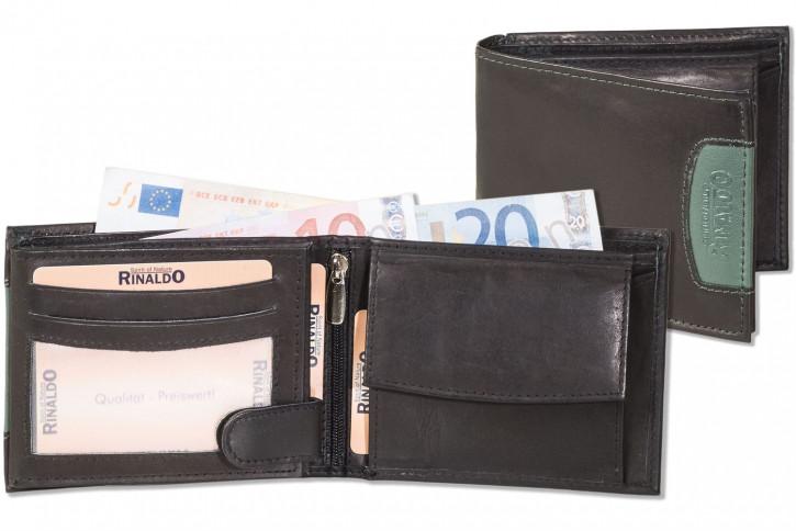 Rinaldo® Querformat Riegelbörse aus glattem, naturbelassenem Rindsleder in Schwarz mit grünem Seitenstreifen