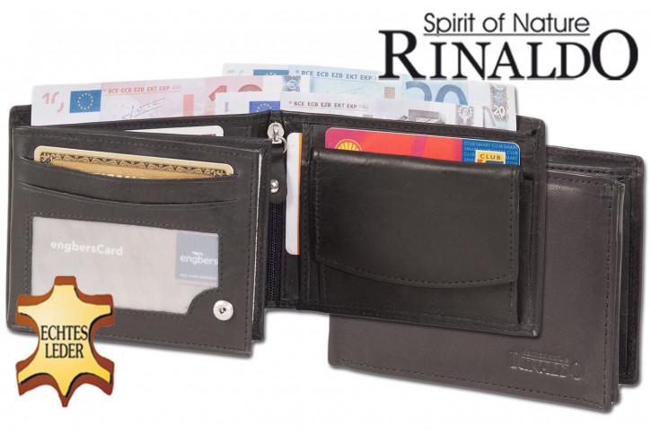 Rinaldo® Riegelgeldbörse mit besonders großen XXL Super-Coin Hartgeldfach aus glattem, naturbelassenem Rindsleder in Schwarz
