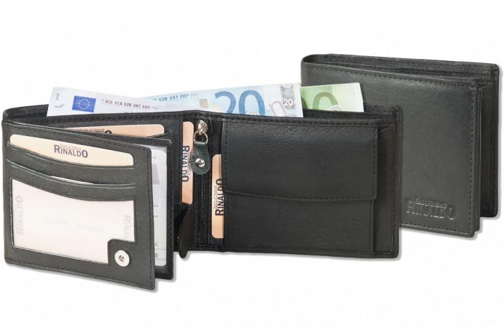 Rinaldo® Querformat Riegel-Ledergeldbörse aus weichem Nappa-Ziegenleder in Schwarz