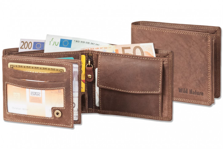 Rinaldo® Riegelgeldbörse im Querformat aus naturbelassenem Büffelleder in Natur-Dunkel
