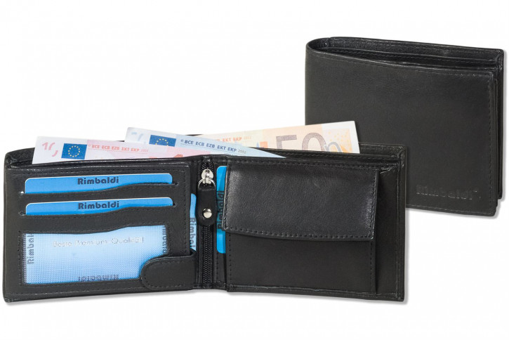 Rimbaldi® Riegelgeldbörse im Querformat mit dem Protecto® RFID/NFC-Blocker Schutz aus besonders weichem, naturbelassenem Rindsleder in Schwarz