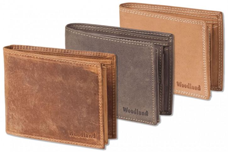 Woodland® Riegelgeldbörse im Querformat mit dem Protecto® RFID-Blocker Schutz aus naturbelassenem Büffelleder