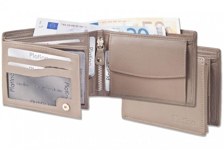 Platino - Riegelgeldbörse im Querformat aus feinstem Rindsleder in First-Class Qualität in Taupe