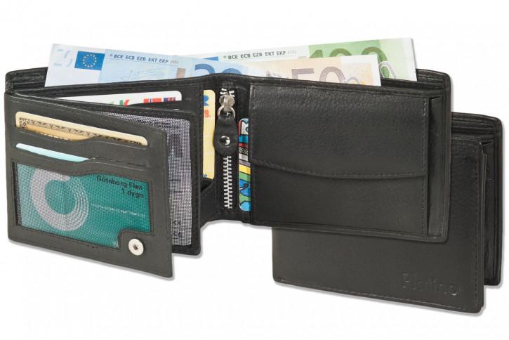 Platino - Riegelgeldbörse im Querformat aus feinem  Rind-Nappaleder in Schwarz