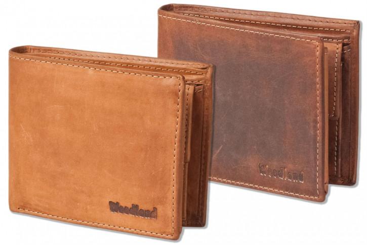 Woodland® Riegelgeldbörse im Querformat aus OIL-PULL UP Rindsleder