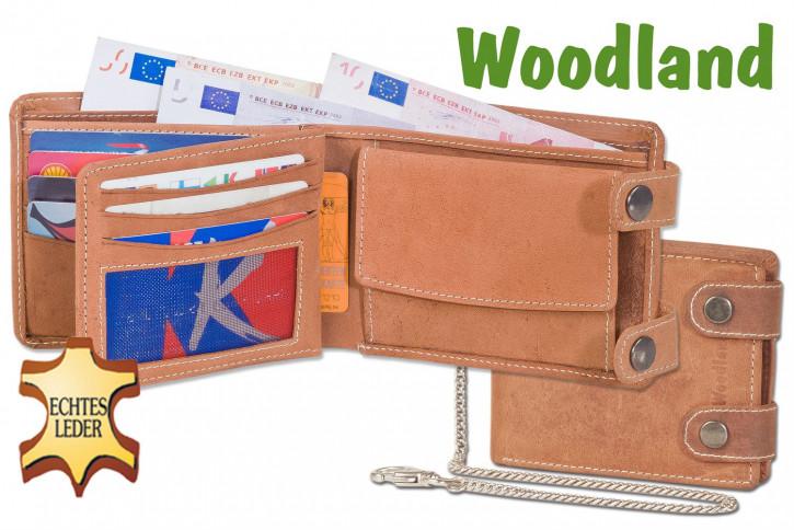 Woodland® Biker-Kettenbörse im Querformat mit langer Metallkette aus weichem, naturbelassenem Büffelleder in Cognac