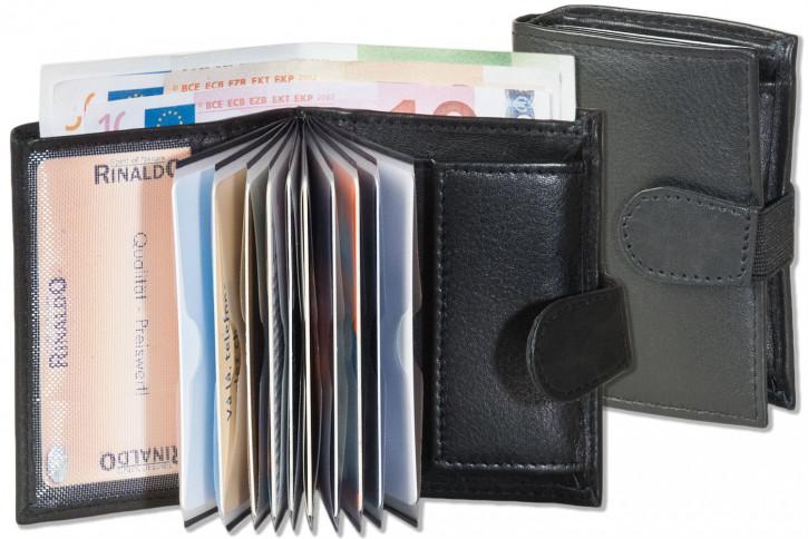 Rinaldo® Super-Kompakte Geldbörse mit XXL-Kreditkartentaschen für insgesamt 11 Kreditkarten aus Rind-Nappaleder in Schwarz