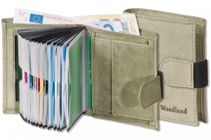 Woodland® Super-Kompakte Geldbörse mit XXL-Kreditkartentaschen für 18 Karten aus naturbelassenem Büffelleder in Grau