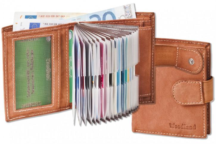 Woodland® Super-Kompakte Geldbörse mit XXL-Kreditkartentaschen für 18 Karten aus naturbelassenem Büffelleder in Braun