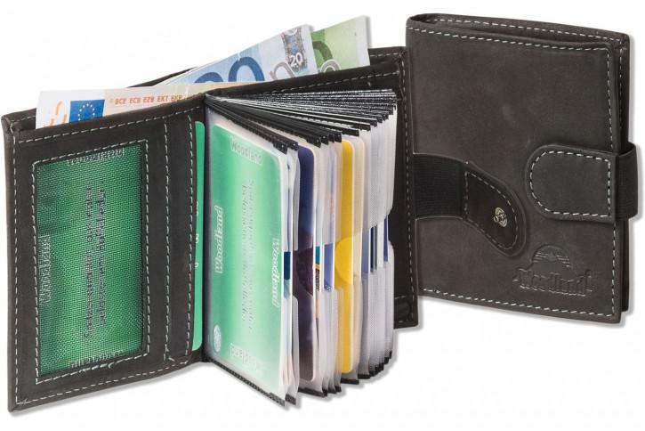 Woodland® Super-Kompakte Geldbörse mit XXL-Kreditkartentaschen für 18 Karten aus naturbelassenem Büffelleder in Anthrazit