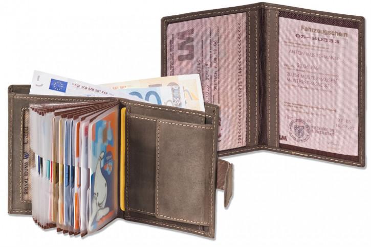 Woodland® Super-Kompakte Geldbörse mit XXL-Kreditkartentaschen für 18 Karten aus naturbelassenem Büffelleder + KFZ-Scheinetui in Cognac
