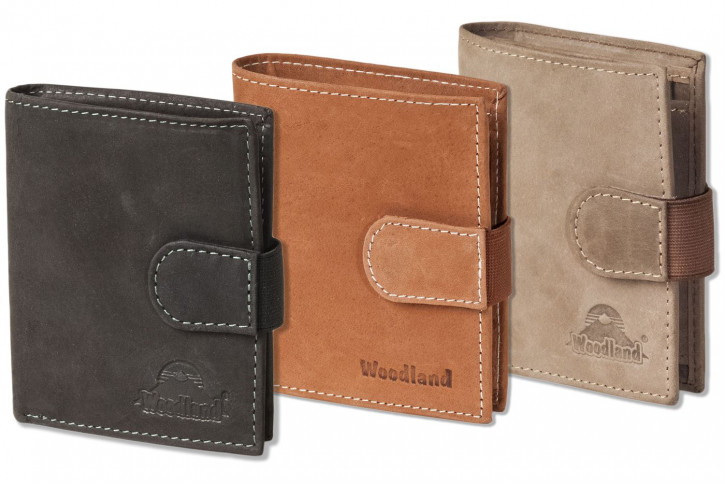 Woodland® Super-Compact purse with XXL credit card pockets and 18 card made ​​of natural buff-leather