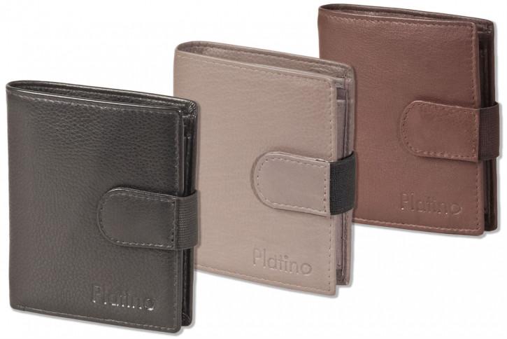 Platino - Super-Kompakte Geldbörse mit XXL-Kreditkartentaschen für 16 Karten aus naturbelassenem Rindsleder