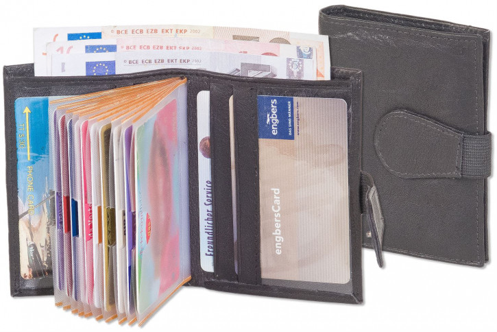 Rinaldo® Super-Kompakte Geldbörse mit Platz für bis zu 12 Kreditkarten aus naturbelassenem, weichem Rind-Nappaleder in Schwarz