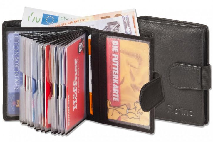 Platino - Super-Kompakte Geldbörse mit XXL-Kreditkartentaschen für 16 Karten aus besten naturbelassenem Rindsleder in Schwarz