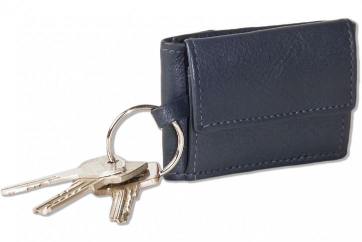 Rinaldo® Micro-Geldbörse im Querformat mit Automatik-Schlüsselring aus weichem, naturbelassenem Rindsleder in Marineblau