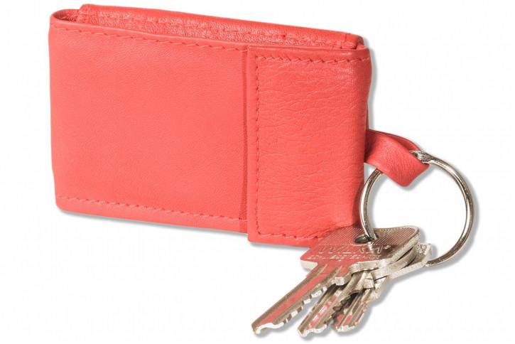 Rimbaldi® Micro-Geldbörse im Querformat mit Schlüsselring aus weichem, naturbelassenem Rindsleder in Rot
