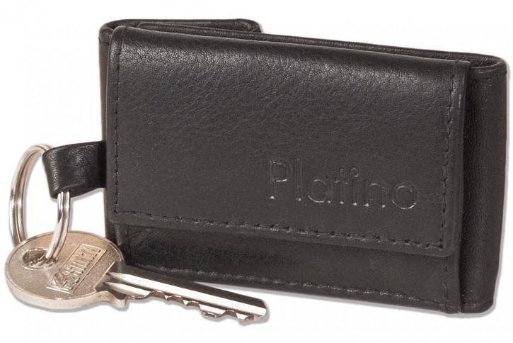 Platino - Micro-Geldbörse im Querformat mit Schlüsselring aus weichem, naturbelassenem Rindsleder in Schwarz