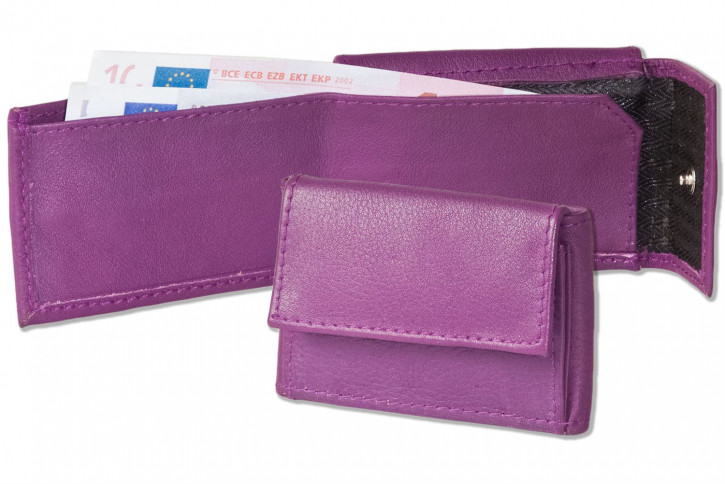 Rinaldo® Micro-leather purse made of natural cow nappa-leather in aubergine