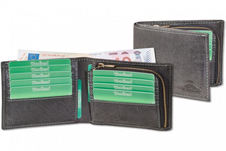 Flache Geldbörse aus naturbelassenem Büffelleder in Anthrazit von Woodland®