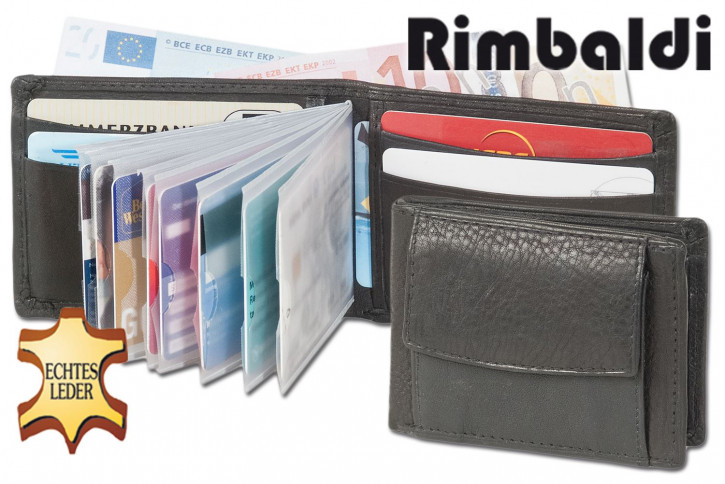 Rimbaldi® Mini wallet with exterior coin pocket made from soft cow nappa-leather in black