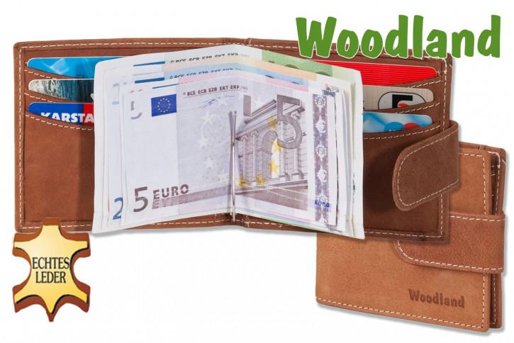 Woodland® Flache Geldbörse mit Geldspange aus feinem naturbelassenem Büffelleder in Cognac