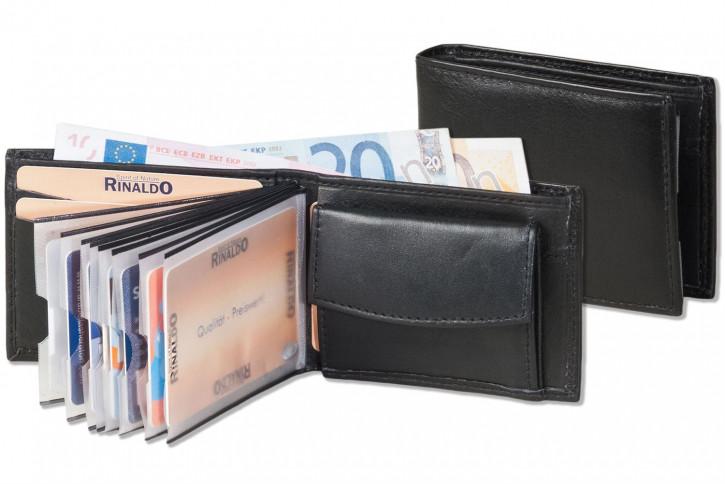 Rinaldo® Mini-Geldbörse mit 8 Klarsicht-Kreditkartenfächern und Super-Coin Hartgeldfach aus naturbelassenem Rind Nappaleder in Schwarz