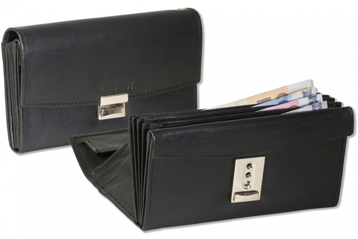 Rimbaldi® Profi Kellnerbörse mit großem Hartgeldfach und Lederboden aus naturbelassenem, weichen Rindsleder in Schwarz