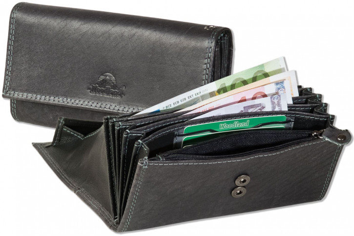 Woodland® - Waiter wallet with extra reinforced bottom in the coin compartment made of natural buffalo leather in black