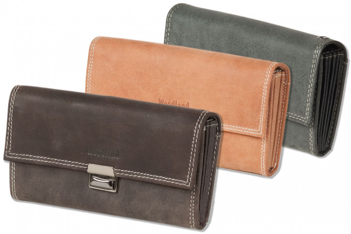 Woodland® - Waiter wallet with reinforced base in the large coin compartment made of natural, soft buffalo leather