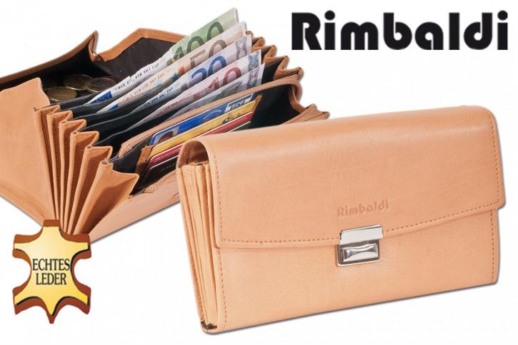 Rimbaldi® Profi-Kellnerbörse mit extra verstärktem Hartgeldfach aus weichem, naturbelassenem Rindsleder in Natur