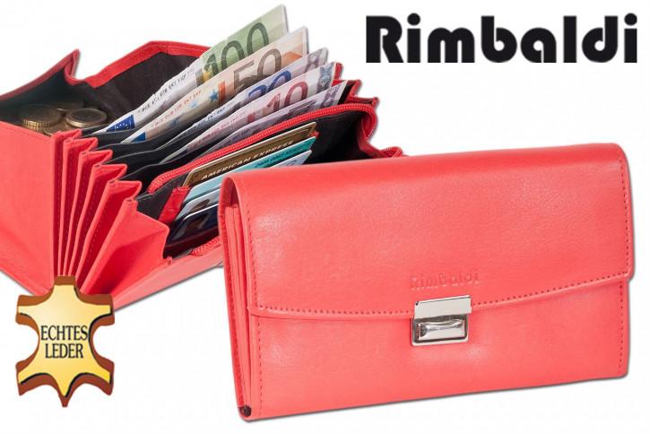 Rimbaldi® Profi-Kellnerbörse mit extra verstärktem Hartgeldfach aus weichem, naturbelassenem Rindsleder in Rot