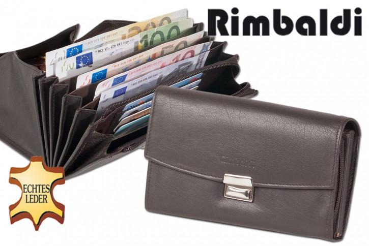 Rimbaldi® Profi-Kellnerbörse mit extra verstärktem Hartgeldfach aus weichem, naturbelassenem Rindsleder in Dunkelbraun