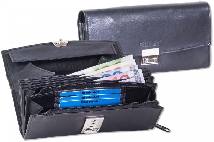 Rimbaldi® Profi-Kellnerbörse mit extra verstärktem Hartgeldfach aus weichem, naturbelassenem Rindsleder in Schwarz