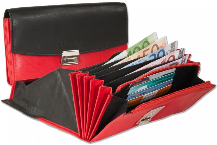 Rimbaldi® Profi-Kellnerbörse mit extra verstärktem Hartgeldfach aus weichem, naturbelassenem Rindsleder in Schwarz/Rot Kombination