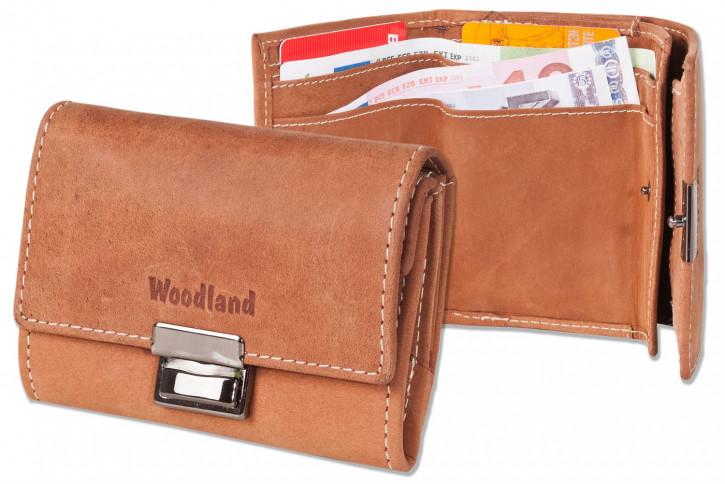 Woodland® Originelle Mini-Taxibörse aus naturbelassenem Büffelleder in Cognac