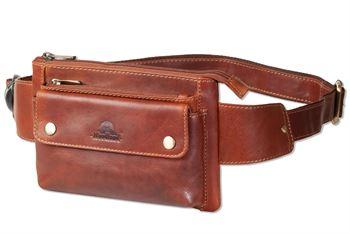 Woodland® Flache Bauchtasche mit Vortasche für ein großes Smartphone aus hochwertigem Rindsleder in Multicolor/Cognac